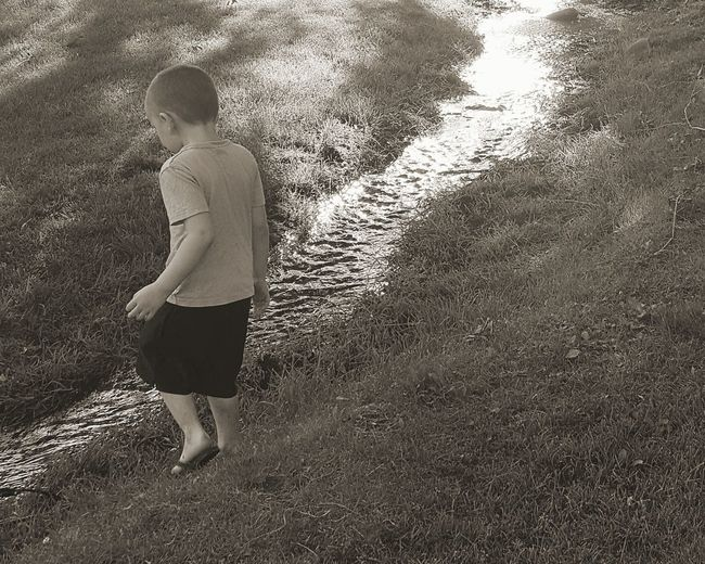 Day Water Outdoors Nature Growth Grass Beauty In Nature Summer Child Full Length Milenamulskephotography Playing Playing Outdoors Check This Out Check It Out Capturing A Moment Small Creek Nature Montana Beauty Creek Playing In The Water Fun My Little Boy  Mommas Boy Black And White