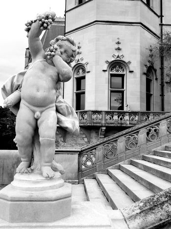 Black And White Statue Steps Outdoors Sculpture Statue Strength Building Exterior Architecture