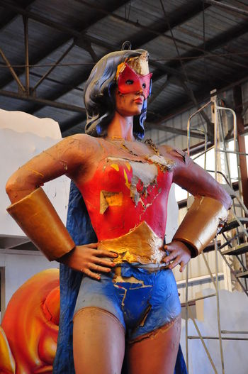 Inside the Mardi Gras Museum - New Orleans, USA New Orleans EyeEm Wonder Woman Art And Craft Body Paint Costume Creativity Day Fashion Model Human Representation Indoors  Low Angle View Mardi Gras Museum Multi Colored One Person People Real People Sculpture Standing Statue Young Adult