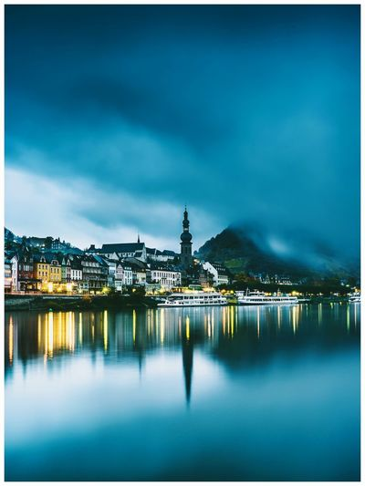 CityLights Architecture Outdoors Travel Destinations Cityscape Water City Morning Www.alexander-schitschka.de The Week On EyeEm Mosel Moselle Long Exposure Mountain Mist Germany Fog Wasser Cochem Stadt Church Tower Reflections