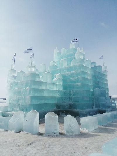 ice castle... Detroit Lakes mn Ice Ice Blocks Castle Outdoors Sky Water No People Day Skyscraper Urban Skyline Beauty In Nature