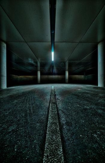 Interior of empty parking garage