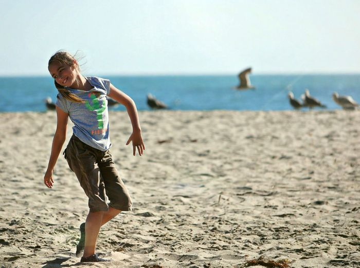 Beach Sea Sand One Person Vitality Motion Healthy Lifestyle Day Activity Summer Vacations Childhood Child EyeEm Selects