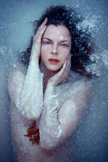 Portrait of a woman in snow