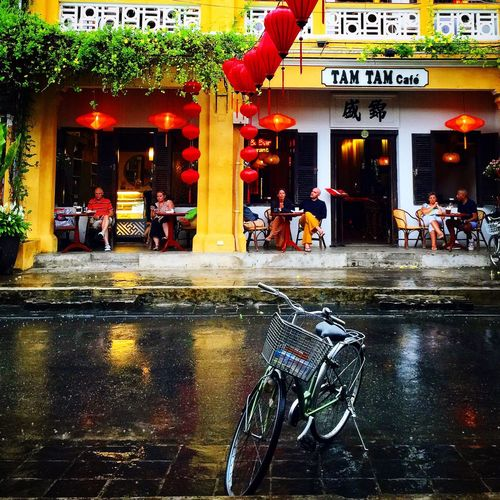 Cafe life, Hoi An Bicycle City Street Wet Street Outdoors Architecture Vietnam
