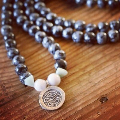 New Snowflake Obsidian Mala for sale at http://theeasiersofterway.com/shop. Creativity Buddhism Evil Eye Silver