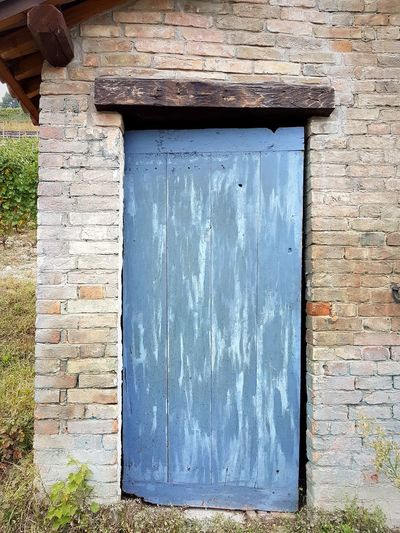 Architecture Day Built Structure No People Outdoors Building Exterior Close-up Rural Building Small House Old Door Blue Door Brick Wall Autumn The Past Old Style Piedmont Italy Barolo Vineyards Langhe Details Textures And Shapes