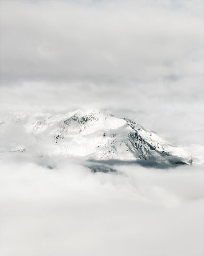 Scenic view of snow capped mountain against sky