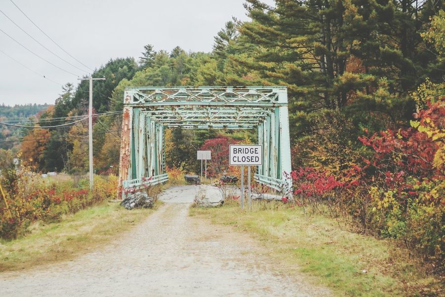 Well, maybe some other time No Entry Just around the corner Autumn bridge Autumn colors vanishing Bridge Closed  No Entry Just Around The Corner Autumn Bridge Autumn Colors Empty Road Fall Diminishing Perspective Abandoned