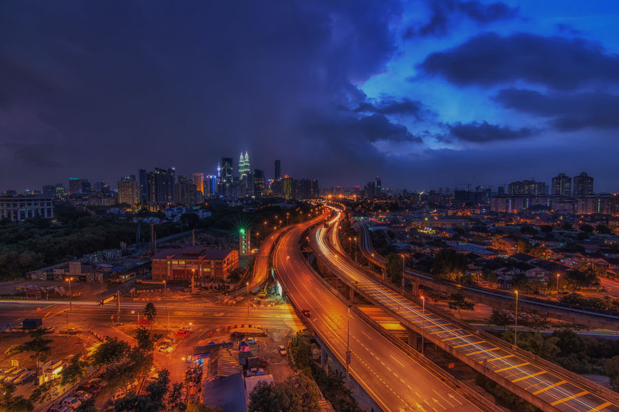 City Cityscape Cityscape Cityscapes Clouds And Sky Destination Fredpius Highway Kuala Lumpur Leading Learn & Shoot: Leading Lines Long Exposure Night Night Lights Night Photography Nightphotography No People Outdoors Sky Landscapes With WhiteWall