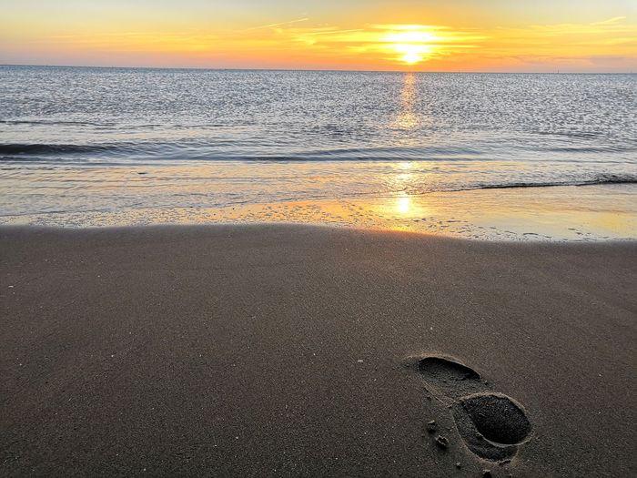 Water Sunset Beach Sea Sky Close-up Horizon Over Water Sandy Beach FootPrint Ocean