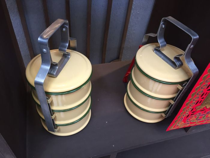 Chinese Tiffin Close-up Day Food Containers Food Transport High Angle View Indoors  Multilevel View No People Tiffin Carrier Vintage