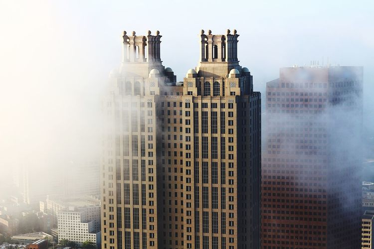 Foggy buildings Architecture Skyscraper Building Exterior Built Structure City Cityscape Travel Destinations Outdoors Day Modern Urban Skyline Sky Aviation Photography ATL Aerialview Aviationphotography Aerial View Atlanta, Georgia Skyline Scenics Downtown District Tall - High Tower Modern Architecture