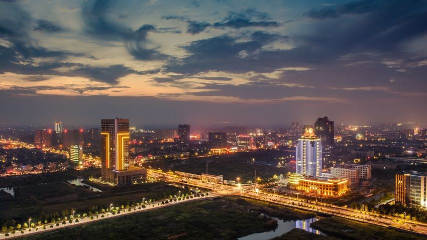 City Architecture Cloud - Sky Illuminated Cityscape Night Sky City Life Outdoors Nikon D700 Nikonphotography Jiashan Zhejiang Province China