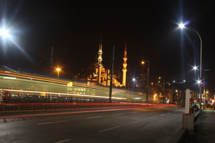 Architecture Built Structure Capital Cities  City City Life City Street Culture Famous Place Illuminated International Landmark Istanbul Light Trail Mosque Motion Night No People Outdoors Road Sky Street Light Tall - High The Way Forward Tourism Travel Destinations