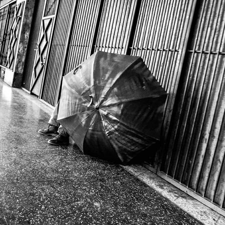 Los Angeles, California City Photography Black And White Light And Shadow Homelessness  Homeless In America Homeless Man Umbrella Shade Street Photography Alone Lonely No Change No Dreams