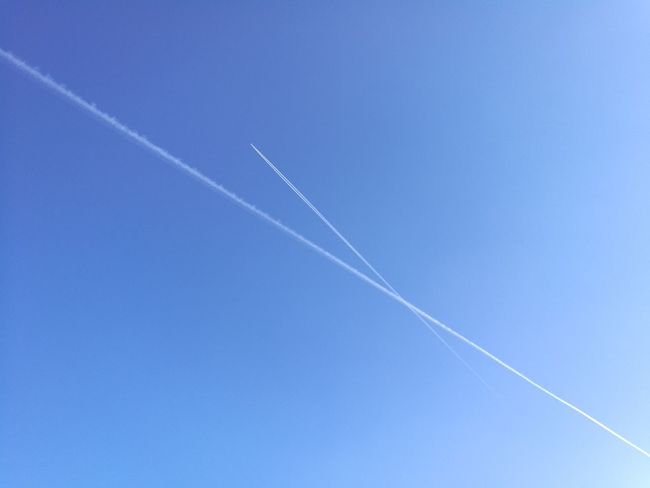sky Vapor Trail Airshow Contrail Blue Air Vehicle Flying Sky Clear Sky Day Outdoors No People Speed Aerobatics