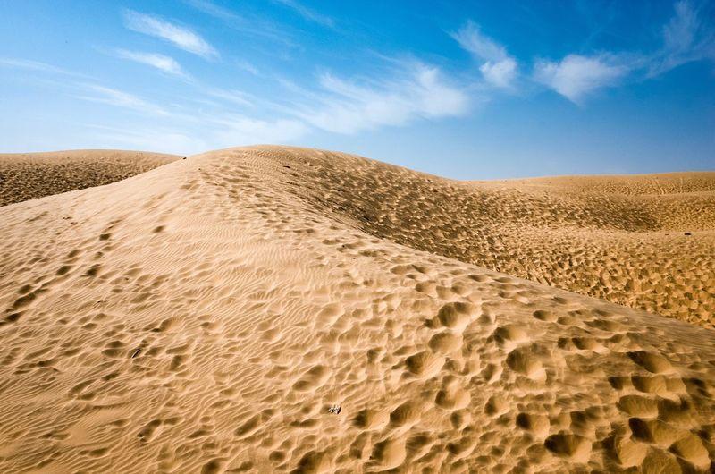 Sand Dunes In Desert Against Blue Sky