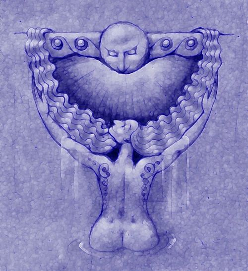 Moon Goddess. My Art ArtWork Illustration Goddess Moon Fantasy Selene Awehaven Creative Book Cover Copy Space Awehaven Art Robin Fifield - Artworks Mixed Media Filtered Image Drawing Blue