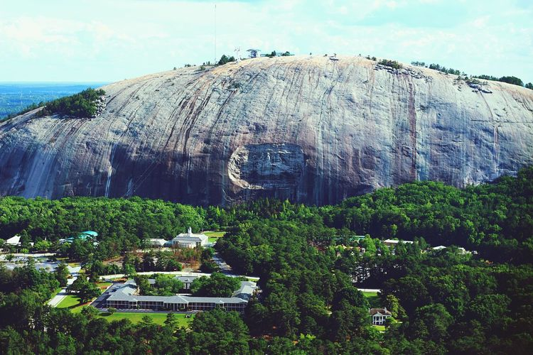 Stone Mountain contrast Day Nature Beauty In Nature Rock - Object Outdoors Tranquil Scene Tranquility Mountain Scenics Landscape Sky Growth Aerial View Tall Tourism Travel Destinations ATL Aerialview Aviation Photography Atlanta, Georgia Tall - High Aviationphotography Growth Cloud - Sky Green Color