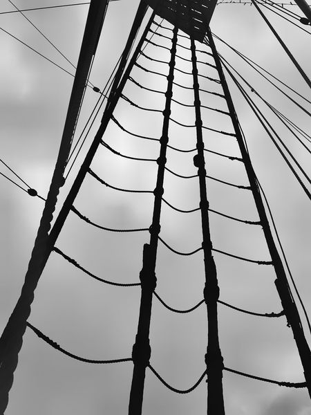 Low Angle View Cable Complexity Sky No People Day Outdoors Ship Rigging Crows Nest Black And White Geometric Shapes Over Head