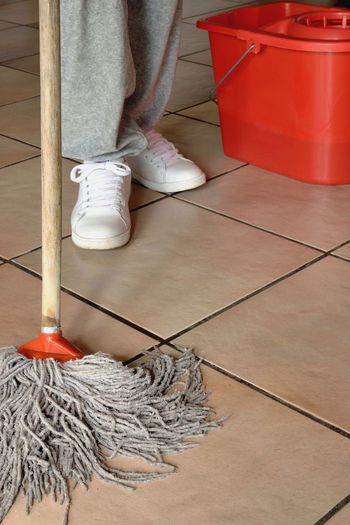 Clean Cleaner Cleaning Clinic Floor Holding Home Work Hospital Housewife Human Body Part Indoors  Low Section Men Mops Part Of Person Red Red Washing Line Worker Working