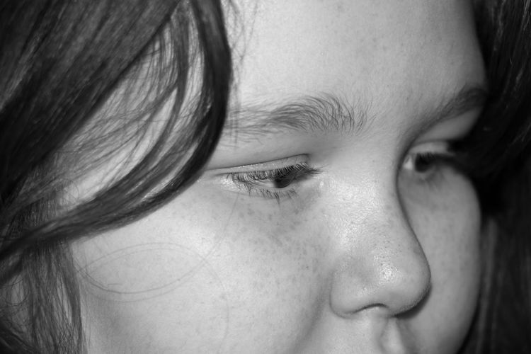 My daughter doing her studies... Black And White Photography Childhood Close-up Contemplation Front View Human Face Indoors  Innocence Person Portrait Real People Serious Studio Shot Young Adult Young Women