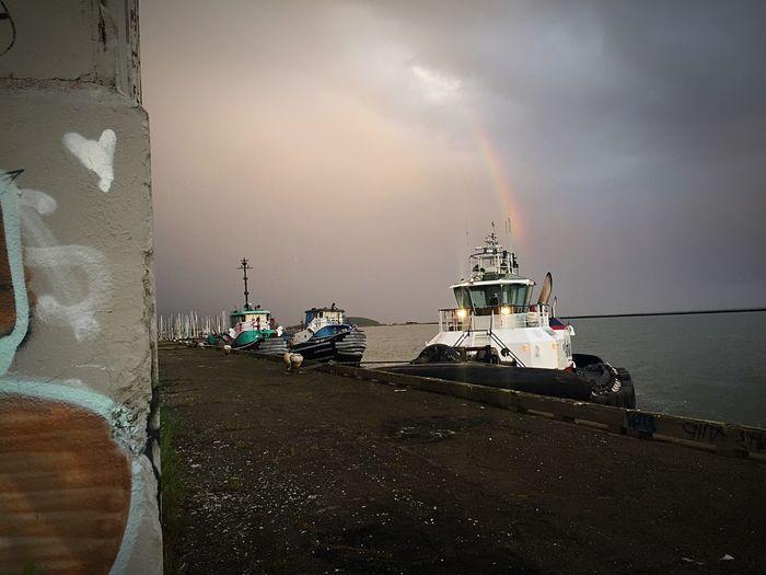 Tug Boats and a Rainbow ✨ Rainbow Sky Richmond, CA Richmond Bay Area Graffiti Bay Area, Ca California Bay Area California Bay Spring Has Arrived Clouds And Sky Clouds Cloudscape Gloomy Weather