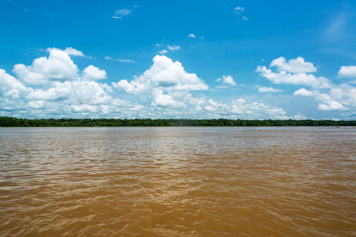 View of the brown dirty water of the Amazon River near Leticia, Colombia Amazon Amazon River Amazonas Amazonia Brazil Brown Clouds Colombia Forest Jungle Landscape Leticia Muddy Outdoors Puerto Nariño Rain Forest Rainforest River Sky South America Tropical Water