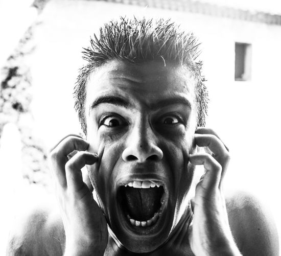 Eye. Blackandwhite Close-up Headshot Human Face Looking At Camera Mouth Open One Person People Portrait Scrary Screaming Young Adult
