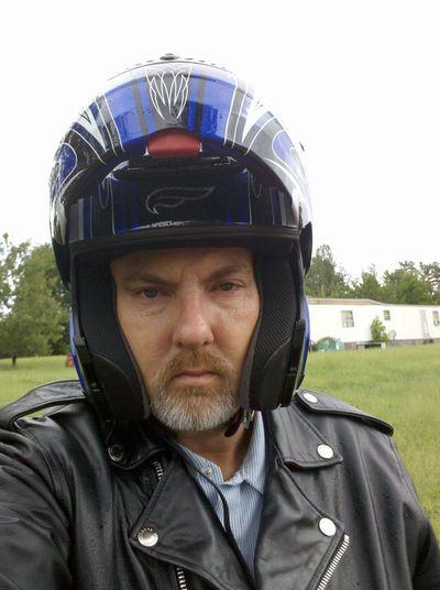 Motorcyclepeople Helmet Portrait Selfie ✌ Leather Jacket Lawn Mobile Home Green Black Color Sky Beard Grey White Beard South Carolina USA