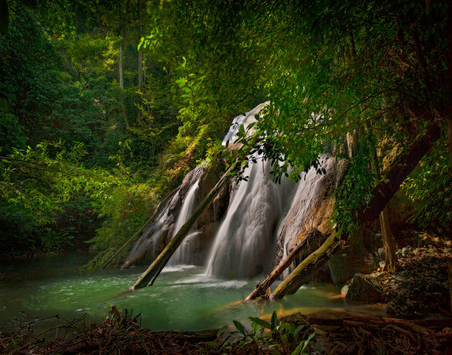Batanta Island Waterfall, Indonesia. After a one hour hike through rain forest you come to spectacular 60+ meter waterfall located on Batanta Island in the Raja Ampat area of West Papua, Indonesia. Batanta Waterfall is located near the Arefi Village. Batanta ASIA Arefi INDONESIA Motion Blur Travel Tropical Paradise Beauty In Nature Day Forest Forest Photography Landscape Motion Nature No People Outdoors Paradise Raja Ampat River Scenics Travel Destinations Tree Water Waterfall West Papua