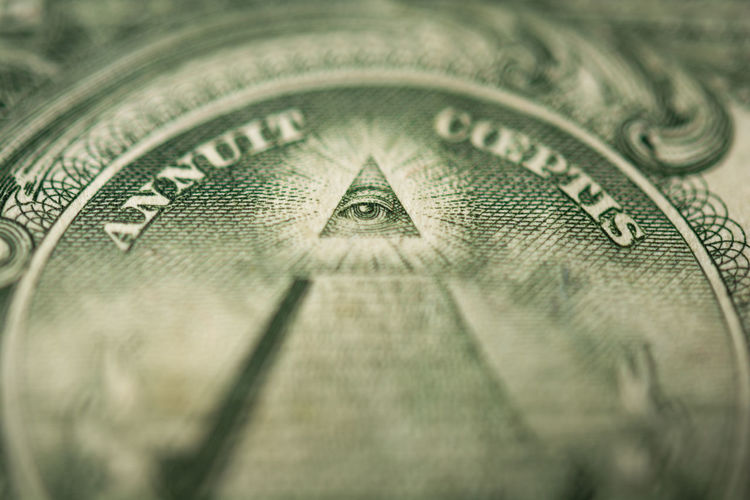 Eye of Providence or all-seeing eye sign, detail in the banknote of one dollar American Currency Freemason  Freemasonry Masonic Mystic New World Order Pyramid Sign USD All Seeing Eye Close Up Conspiracy Conspiracy Theories Detail Dollar Eye Of Providence Government Illuminati Mason Money Symbol Tectonic Theory Triangle