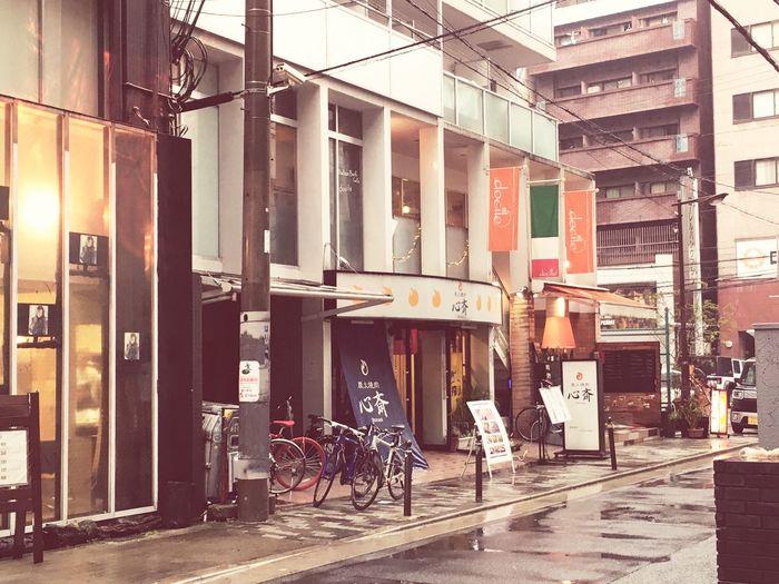 雨ですょ〜☔︎ Street Scene Without People Bicycle Architecture Built Structure Building Exterior Transportation City Outdoors