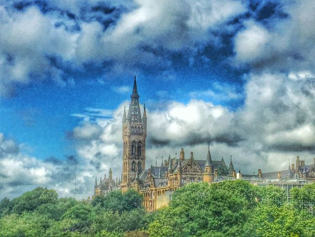 Architecture Cloud - Sky Sky Building Exterior Built Structure Travel Destinations History Day Place Of Worship No People Clock Tower Outdoors Growth Tree City Kelvingrove Park GLASGOW CITY Eye Em Scotland Scotland Eyeem Scotland  GlasgowUniversity University Clouds And Sky Beutiful Day