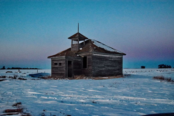 Beautiful scenery on a cold winter day. Abandoned Places Grampa Don't Live Here No More. Land Of Living Skies Lonely One Room Schoolhouse Clear Cold Sky Ice And Snow Lonely Road Prairie Sun
