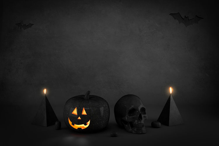 View of illuminated pumpkins