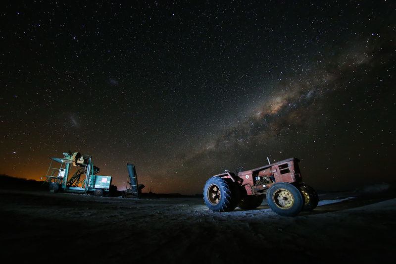 SALINAS GRANDES HUAWEI Photo Award: After Dark Crawler Maquinaria Pesada Mode Of Transport Night No People Non-urban Scene Old Outdoors Scenics Sky Space Exploration Star - Space Star Field Tranquil Scene Tranquility Transportation