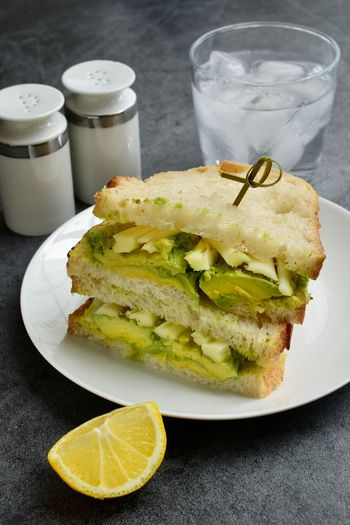 Close-up of sandwich served in plate on table