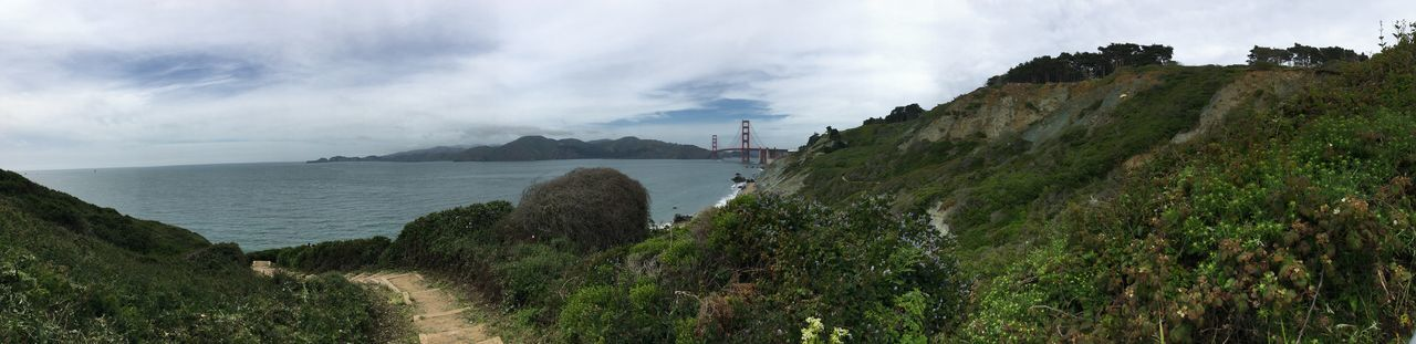 Panoramic Golden Gate Bridge Pacific Coast Pacific California San Francisco Baker Beach Sky Scenics - Nature Panoramic Tranquil Scene Nature Tranquility Cloud - Sky Beauty In Nature Day Water Plant Sea Land Outdoors Environment