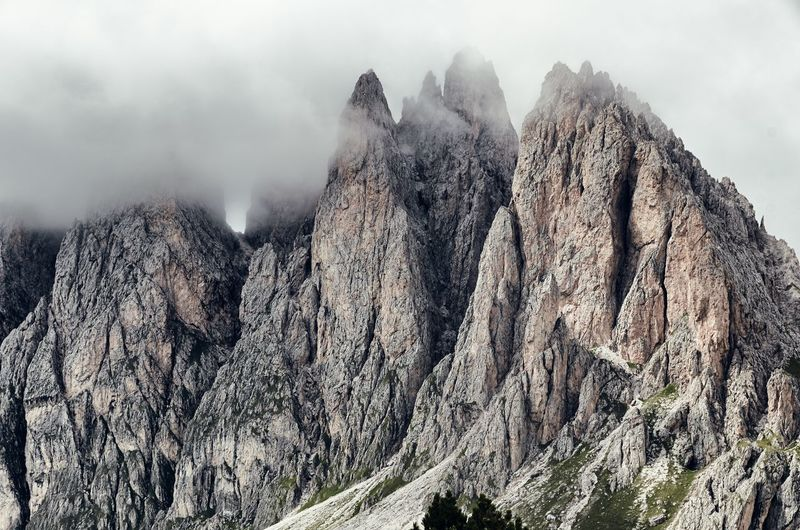 Low Angle View Of Dolomites In Foggy Weather
