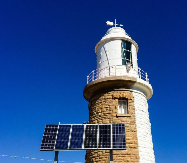 Old vs New Painted Exterior Tower Woodman Point Lighthouse Lighthouse Half Limestone Brick Architecture Landmark Building Lantern Room Weather Vane Coogee White Western Australia Historic Old Coogee Lighthouse Solar Panel Multiple Personalities Two Faces Blue Sky