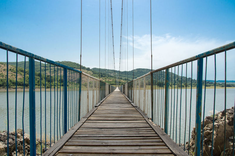 Empty Footbridge Over Lake