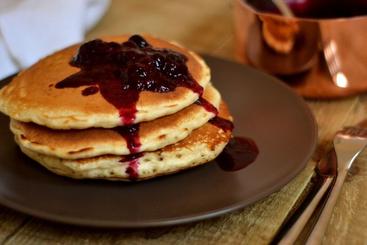 Pancakes with blueberry compote Pancakes Pancake Blueberry Blueberries Compote Sauce Breakfast Breakfast ♥