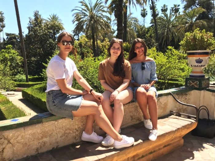 Friendship Tree Young Women Water Full Length Smiling Togetherness Palm Tree Sitting Happiness