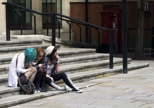 Architecture Building Exterior Carefree Casual Clothing Day Friend Friends Friendship Full Length Long Hair Relaxation Sitting Solitude Togetherness Young Adult Internet Addiction