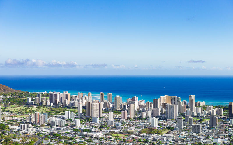 Architecture Built Structure City Cityscape Hawaii High Angle View Horizon Over Water Landscape Oahu Sea Skyscraper Travel Traveling United States Urban Skyline USA