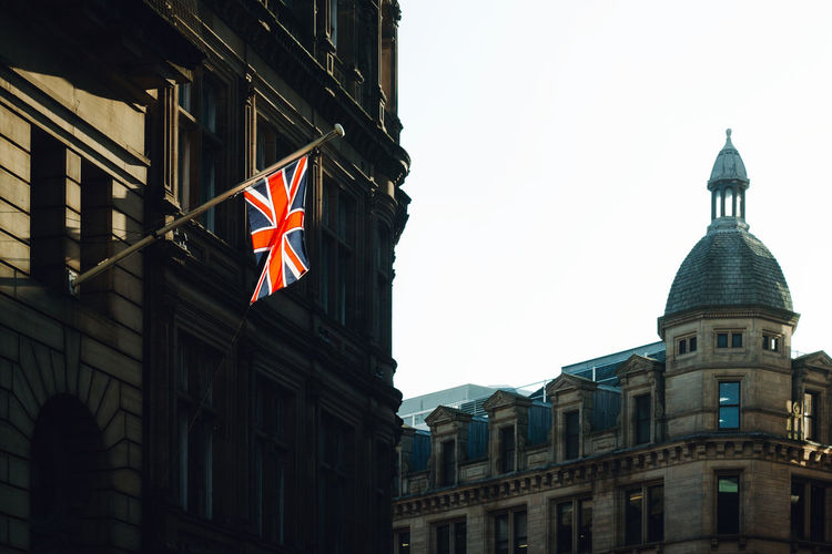 Architecture Brexit Building Exterior Built Structure City Culture Day England Flag Manchester No People Outdoors Patriotism Traditional Travel Travel Destinations Union Jack United Kingdom