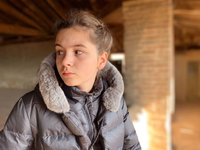 Girl looking away with warm clothing Portrait Warm Clothing Clothing One Person Front View Winter Lifestyles My Best Photo International Women's Day 2019