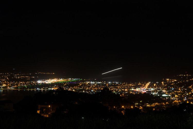 Wellington  Aerial View City Cityscape Illuminated Landing - Touching Down Landing By Night Landing Plane Night